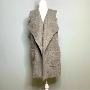 Umgee Sherpa Front Long Sweater Vest Gray Size L